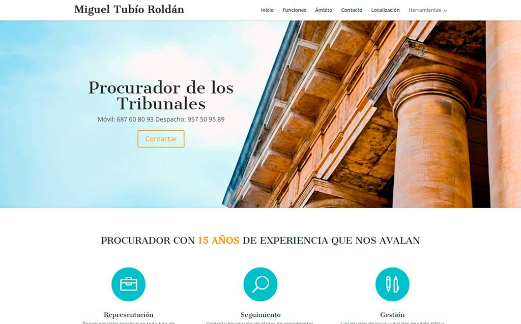 Diseño web procuradortubio.es en Lucena